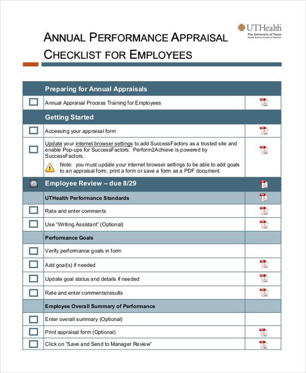 sample performance appraisal format