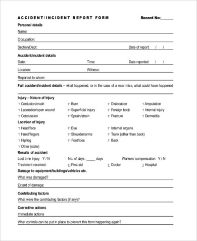 Sample Accident Report Form - 10+ Free Documents in Word, PDF - accident reports template