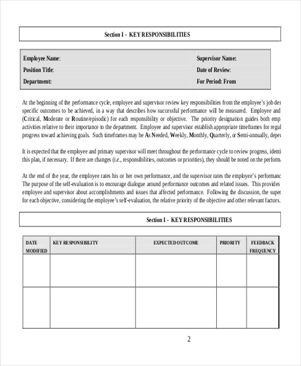 Employee Performance Evaluation Form Doc | Three Main Types Of Resumes