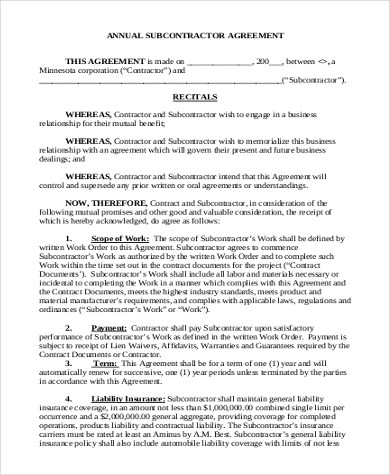 Sample Subcontractor Agreement Form- 10+ Free Documents in Word, PDF - subcontractor agreements