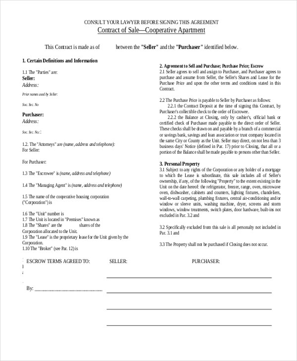 Sample Sales Contract Form - 9+ Free documents in PDF - sales contract