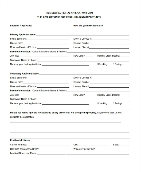Sample Apartment Rental Application Form - 8+ Free Documents in Word