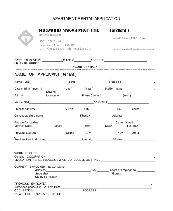 Sample Apartment Rental Application Form - 8+ Free Documents in - rental application pdf