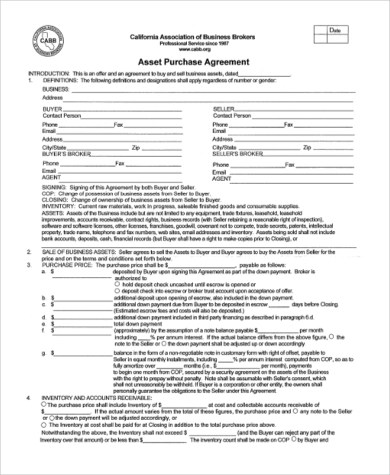 Purchase Agreement Form Samples - 9+ Free Documents in Word, PDF - asset purchase agreement