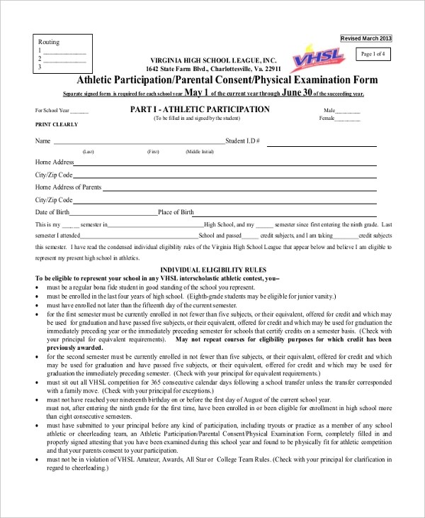 Sample Sports Physical Form - 9+ Free Documents In PDF, Doclovely