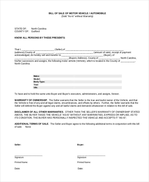 Sample Bill of Sale Auto Form - 8+ Free Documents in PDF - sample boat bill of sale