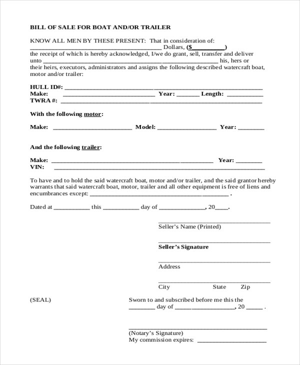 Trailer Bill of Sale Form - 9+ Free Documents in Word, PDF - boat bill of sale