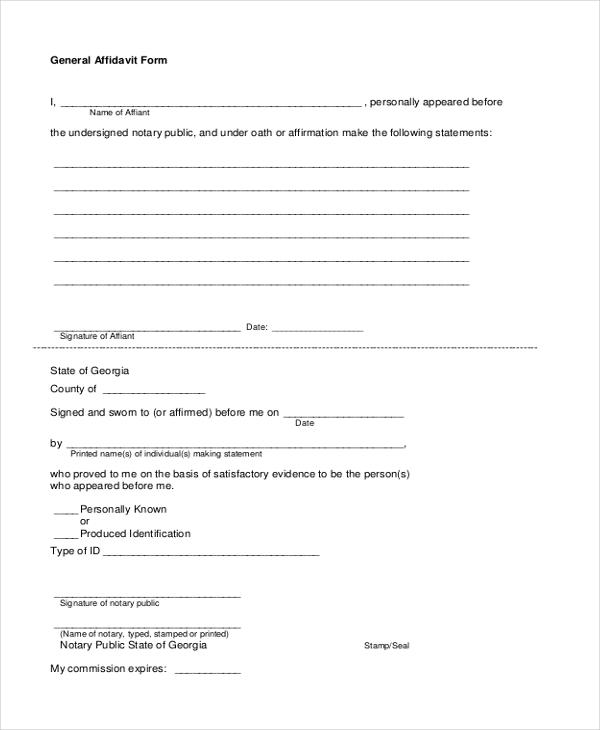 11+ Sample Free Affidavit Forms - Sample, Example, Formt