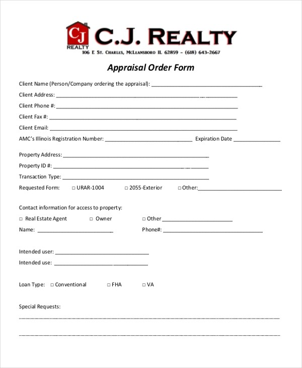 9+ Sample Appraisal Order Forms - Free Sample, Example, Format
