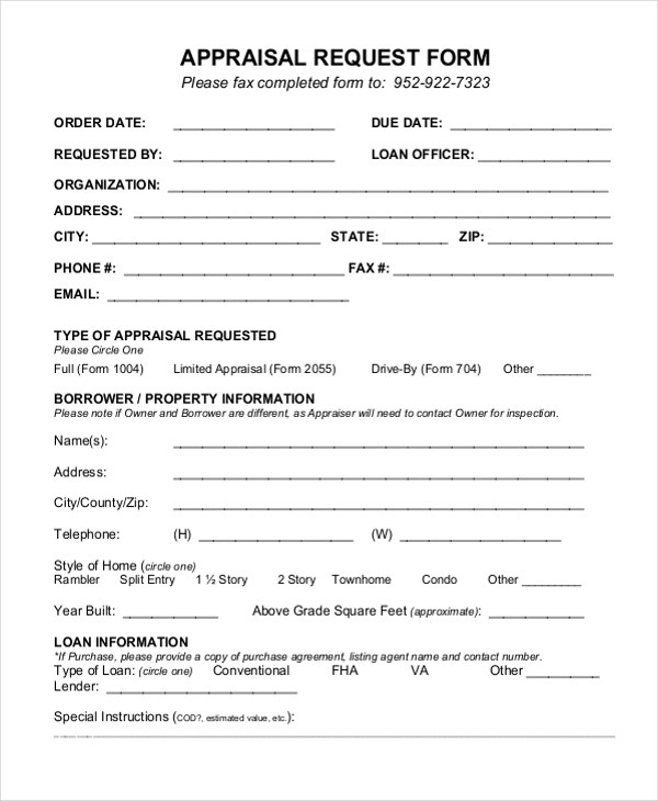 10+ Sample Appraisal Request Forms - Free Sample, Example, Format - appraisal order form