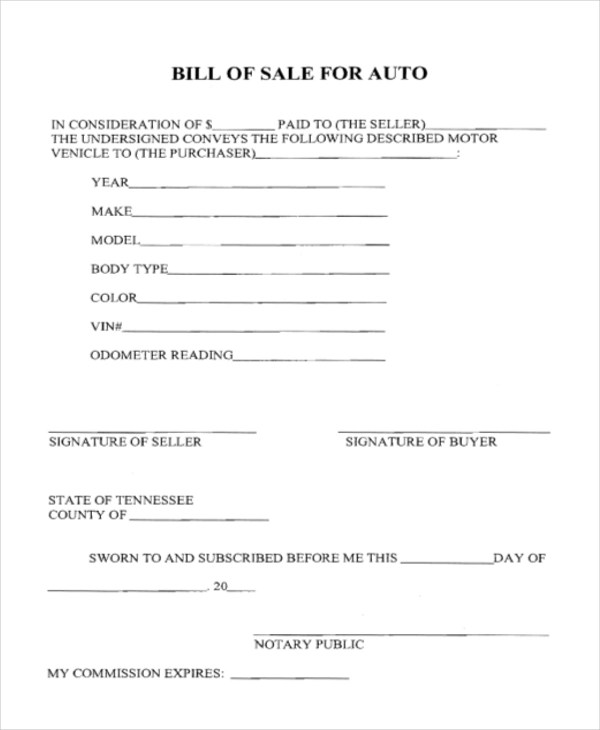 Sample Bill of Sale Auto Form - 8+ Free Documents in PDF - blank bill of sale for automobile