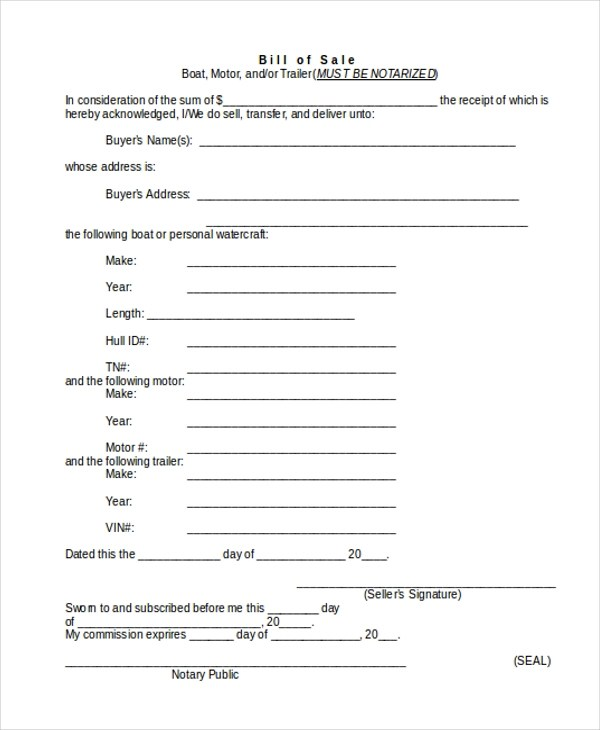 Trailer Bill of Sale Form - 9+ Free Documents in Word, PDF - sample boat bill of sale