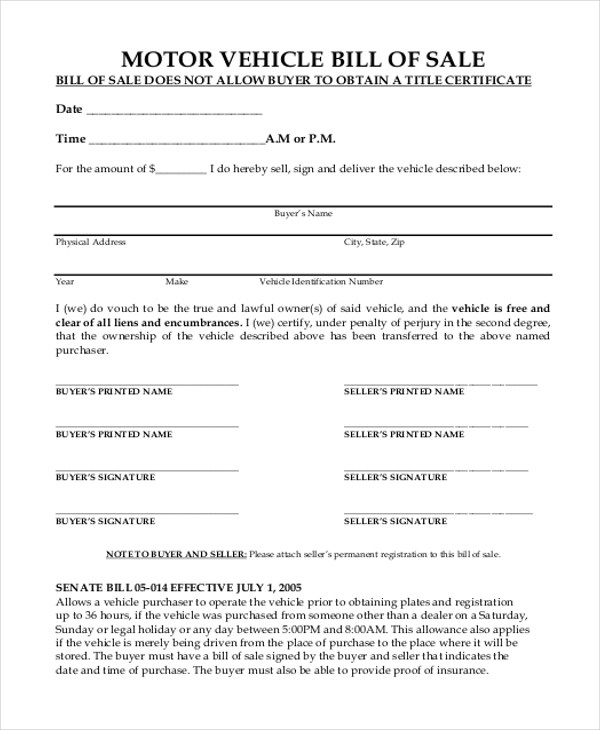9+ Sample Motor Vehicle Bill of Sale Forms Sample Forms