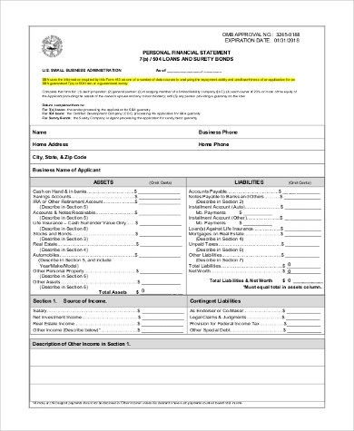 Sample Personal Financial Statement Form - 9+ Free Documents in - sample personal financial statement