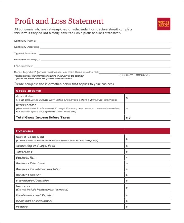 Sample Profit and Loss Statement Form - 8+ Free Documents in PDF, Xls - printable profit and loss statement