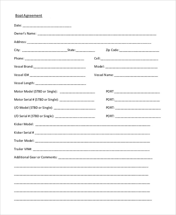 boat purchase agreement form - Ibovjonathandedecker