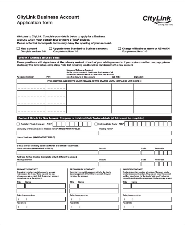 business account application - Ozilalmanoof - business application form