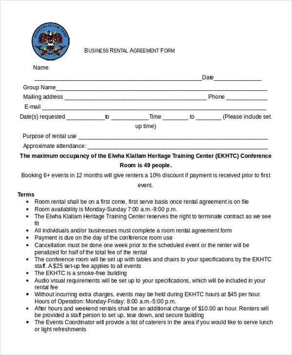 8+ Sample Business Agreement Forms - Free Sample, Example, Format - business rental agreement template