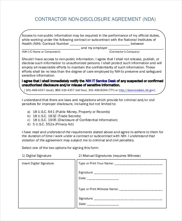 Sample Non Disclosure Agreement Form - 8+ Free Documents in Doc, PDF - contractor confidentiality agreement