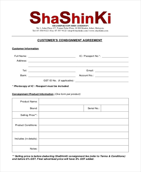 Sample Consignment Agreement Form - 8+ Free Documents in PDF - consignment form template