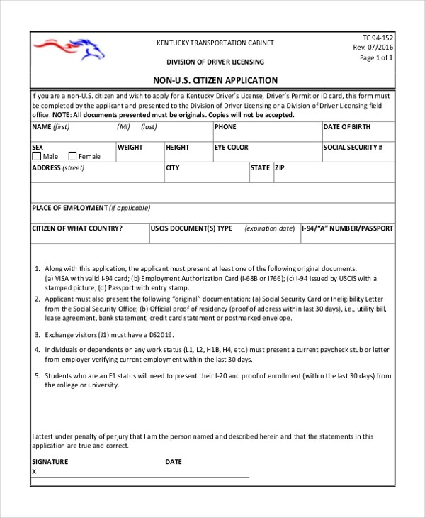 9+ Sample Citizenship Application Forms - Free Sample, Example, Format