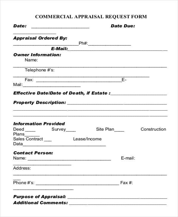 Sample Appraisal Request Forms Free Sample Example Format Appraisal