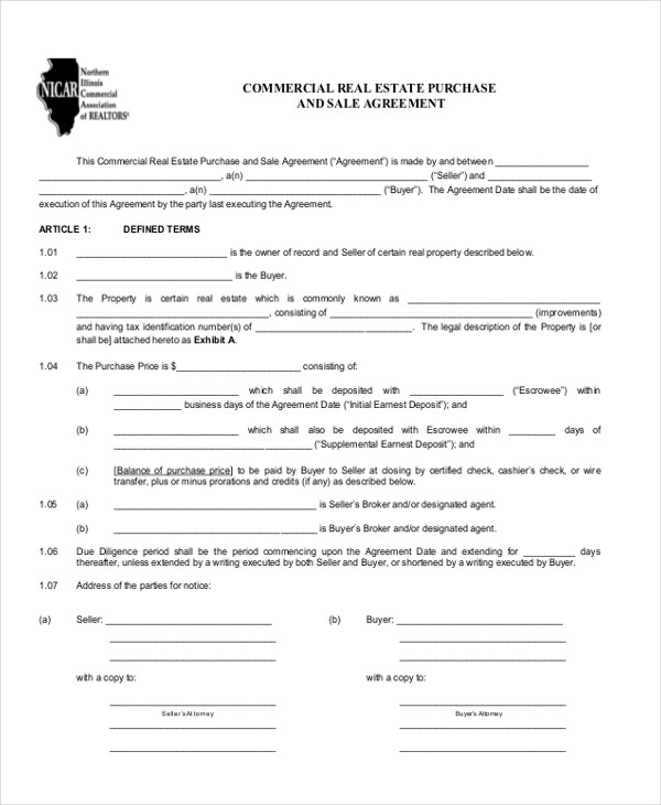 9+ Sample Commercial Agreement Forms - Free Sample, Example, Format - Commercial Real Estate Purchase Agreement
