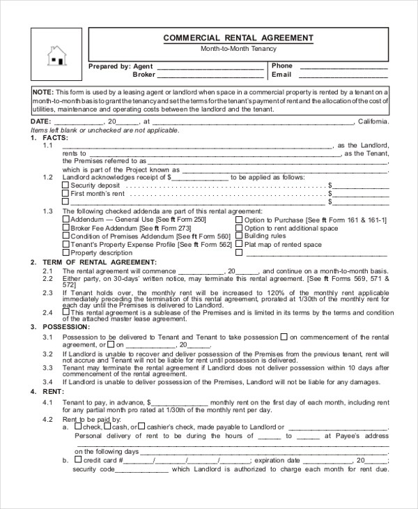 9+ Sample Commercial Agreement Forms - Free Sample, Example, Format - commercial rent agreement format