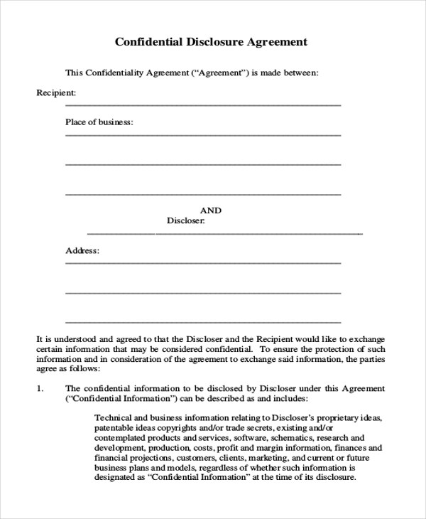 Sample Confidentiality Agreement Form - 9+ Free Documents in Doc, PDF - sample client confidentiality agreements