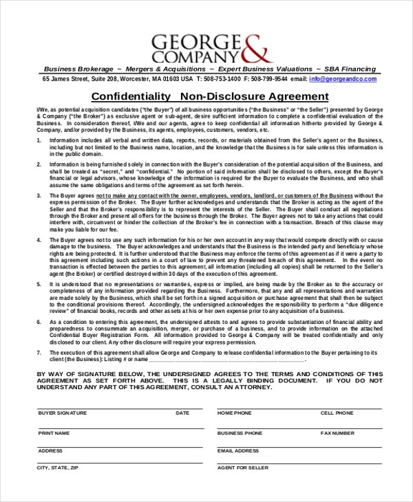 10+ Sample Confidentiality Agreement Forms - Free Sample, Example - non disclosure agreement form