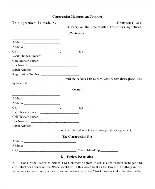 Construction management contract template - visualbrainsinfo - management contract template