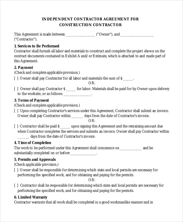 sample independent contractor agreement efficiencyexperts - independent contractor agreement form