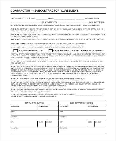 Sample Subcontractor Agreement Form- 10+ Free Documents in Word, PDF - subcontractor agreement template