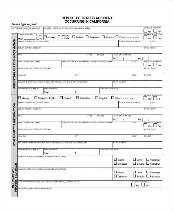 Sample DMV Accident Report Form - Free Documents in PDF - accident reports template