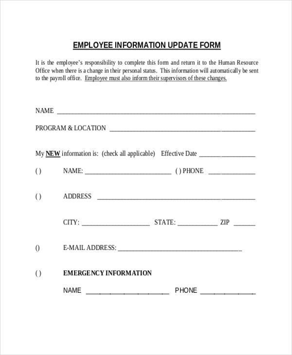 Employee Update Form Deposit Payroll Change Form Change Form