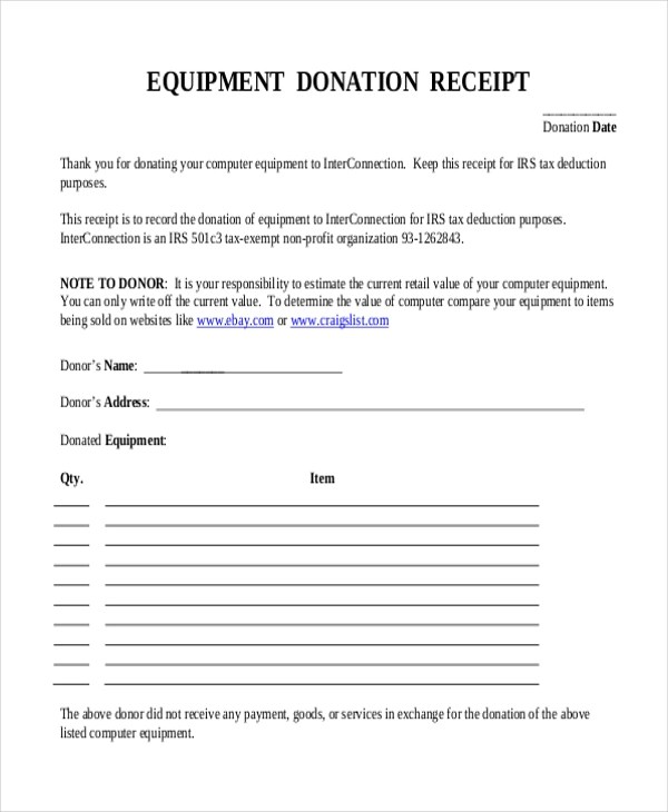 Sample Donation Receipt Form - 8+ Free Documents in PDF