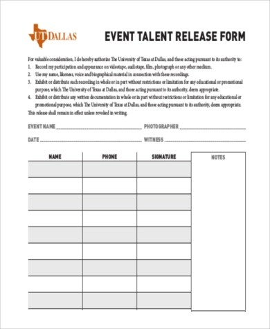 Sample Talent Release Forms - 8+ Free Documents in Doc, PDF - sample talent release form