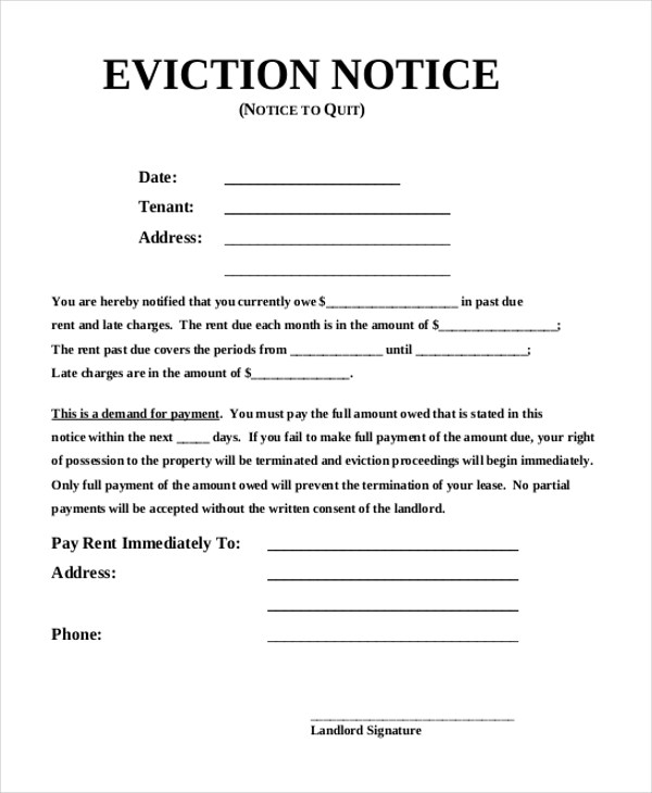 Sample Eviction Notice Form - 8+ Free Documents in PDF, Doc - eviction notice pdf