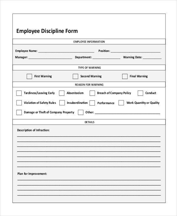 Sample Employee Disciplinary Action Forms - latifa - action form in pdf