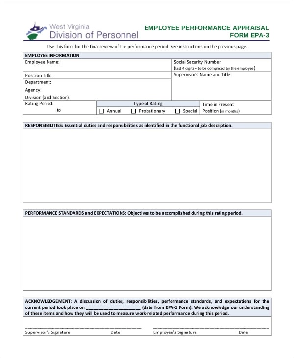 Employee Appraisal Form Sample 10+ sample employee appraisal - employee review form