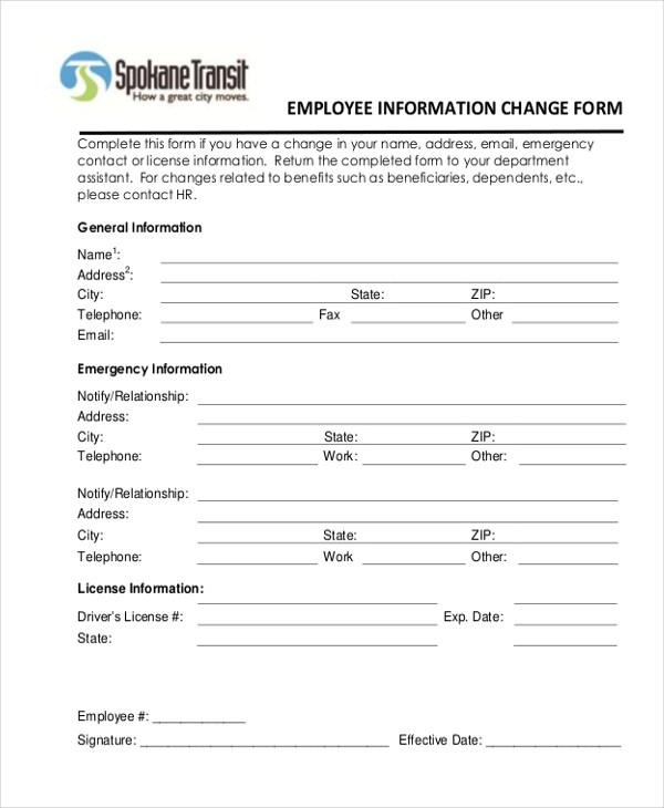 employee information form doc - Goalgoodwinmetals - employee information form