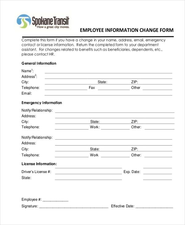 employee information form doc - Onwebioinnovate - employee information form