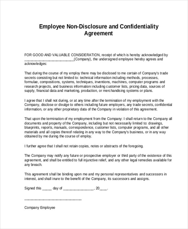 Sample Non Disclosure Agreement Form - 8+ Free Documents in Doc, PDF - confidentiality agreement template