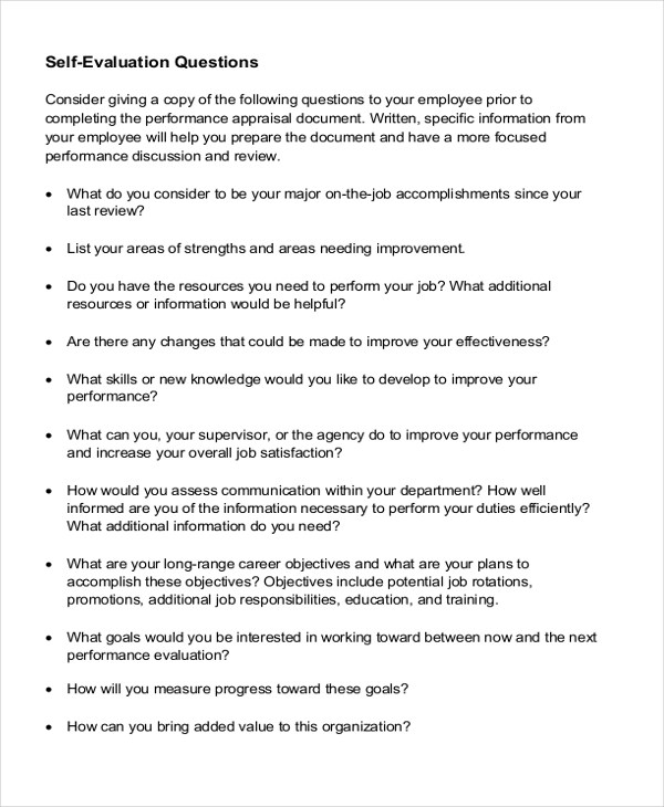 Sample Employee Self Evaluation Form - 8+ Free Documents in PDF, Doc - presentation evaluation form in doc