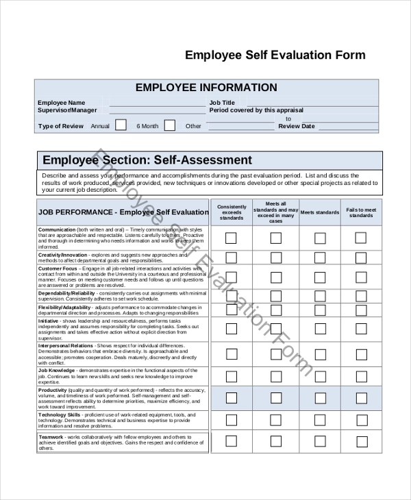 Sample Employee Self Evaluation Form - 8+ Free Documents in PDF, Doc