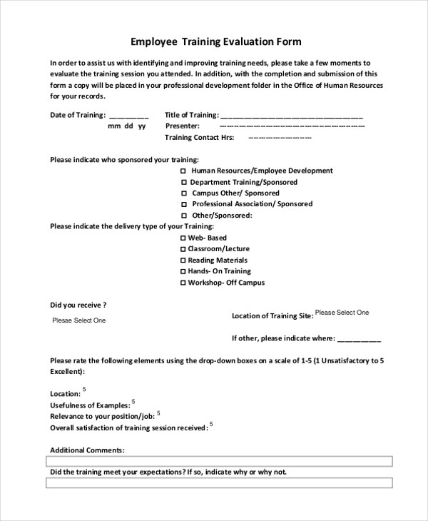 Sample Training Evaluation Form Training Evaluation Example Report