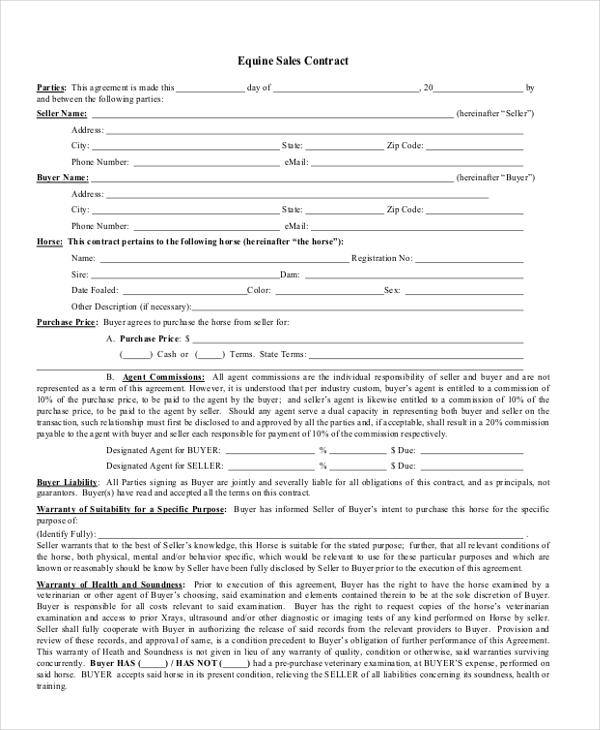 Horse Sales Contracts Horse Sales Contracts Printable Sample