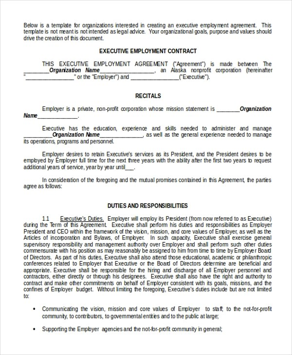 Sample Employment Agreement - 6+ Documents In PdfExecutive