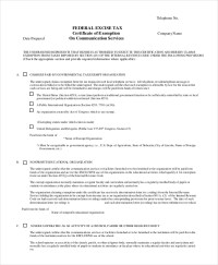 Sample Tax Exemption Form