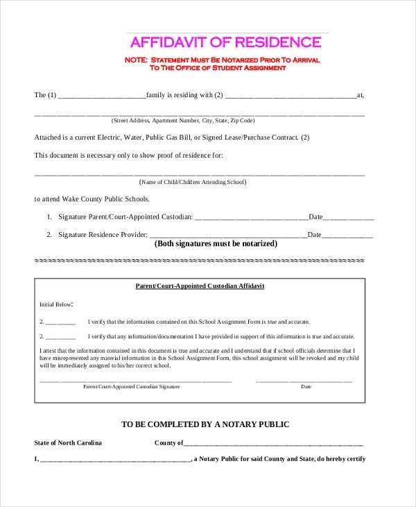 11+ Sample Free Affidavit Forms - Sample, Example, Formt - Affidavit Forms Free